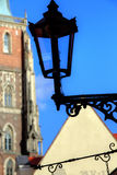 Gas lantern on Ostrow Tumski, Wroclaw in Poland Royalty Free Stock Photography