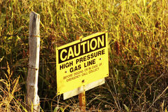 Gas Line Sign. Sign warning of a buried gas transmission line Stock Photo