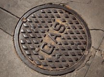 Gas man-hole cover Royalty Free Stock Images