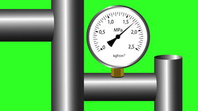 Gas manometer working. Green screen background. stock footage