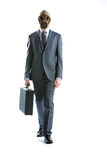 Gas mask. Portrait of businessman in a gas mask  with suitcase Royalty Free Stock Images