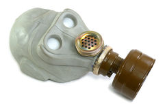 Gas mask. A gas mask, like breathing, rubber face, glass eyes, personal protective equipment, the old Soviet military gas mask Royalty Free Stock Photo