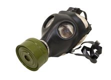 Gas mask. Rubber gas mask to protect the wearer from airborne pollutants and toxic gases - path included Royalty Free Stock Photography