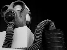 Black and white photo of an old gas mask stock photography