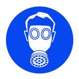 Gas mask. Blue industrial warning signs - gas mask Stock Images