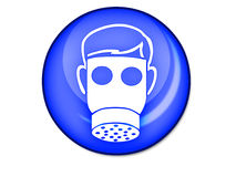 Gas mask button. Illustration of person wearing gas mark on blue button; isolated on white background Royalty Free Stock Image