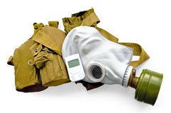 Gas mask with carrying case and a radiometer Royalty Free Stock Photography