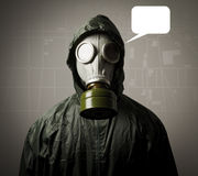 Gas mask and a city map in white balloon. Royalty Free Stock Images