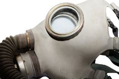 Gas mask close up. Isolated on a white background royalty free stock photo