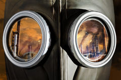 Gas Mask close up with reflected industry Stock Image