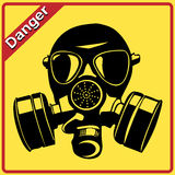 Gas mask. Danger sign Stock Photography