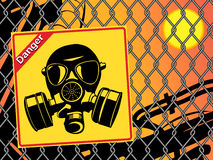 Gas mask. Danger sign Stock Photo