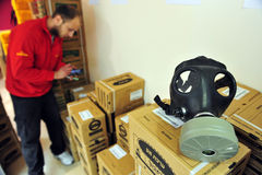 Gas mask distribution in Israel Royalty Free Stock Photography