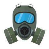 Gas Mask Flat Vector Illustration. Flat style vector respirator chemical gas mask illustration isolated on white Stock Image