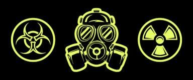 Gas mask and hazard sings. Respirator. Radiation sign. Biohazard sign. Gas mask and hazard sings isolated on black background. Respirator. Radiation sign royalty free illustration