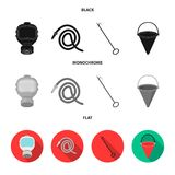 Gas mask, hose, bucket, bagore. Fire department set collection icons in black, flat, monochrome style vector symbol. Stock illustration Stock Photography