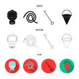 Gas mask, hose, bucket, bagore. Fire department set collection icons in black,flat,outline style vector symbol stock. Illustration Stock Photo