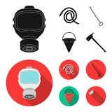 Gas mask, hose, bucket, bagore. Fire department set collection icons in black, flat style vector symbol stock. Illustration Royalty Free Stock Photo