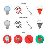 Gas mask, hose, bucket, bagore. Fire department set collection icons in cartoon,flat,monochrome style vector symbol. Stock illustration Stock Photography