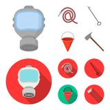 Gas mask, hose, bucket, bagore. Fire department set collection icons in cartoon,flat style vector symbol stock. Illustration Royalty Free Stock Image
