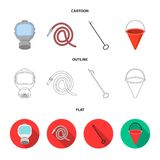 Gas mask, hose, bucket, bagore. Fire department set collection icons in cartoon,outline,flat style vector symbol stock. Illustration Stock Photos