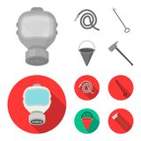 Gas mask, hose, bucket, bagore. Fire department set collection icons in monochrome,flat style vector symbol stock. Illustration Royalty Free Stock Photos