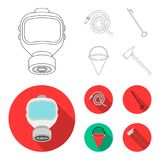 Gas mask, hose, bucket, bagore. Fire department set collection icons in outline,flat style vector symbol stock. Illustration Royalty Free Stock Photography