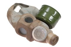Gas Mask Isolated on White. Vintage Gas Mask Isolated on White Royalty Free Stock Photography