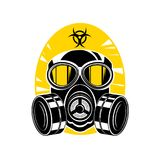 Gas mask with lenses and a hood, sign chemical hazard Stock Image