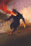 The gas mask man breathing out fire flame. Illustration painting Stock Photo