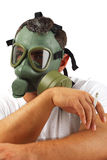 Gas mask man chilling Royalty Free Stock Photography