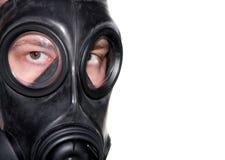 Gas mask man closeup stock images