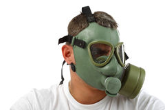 Gas mask man looking angry Royalty Free Stock Image