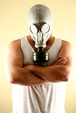 Gas Mask Man. A mean looking man wearing a gas mask Royalty Free Stock Photos