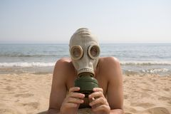 Gas mask.man.sea. Royalty Free Stock Photos