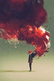 Gas mask man standing with fire flame and smoke on his back. Illustration painting Stock Photography
