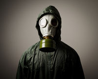 Gas mask. Man wearing a gas mask on his face Stock Photo