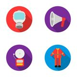 Gas mask, megaphone, siren, uniform. Fire department set collection icons in flat style vector symbol stock illustration Royalty Free Stock Photography