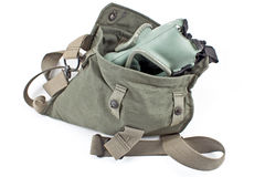 Gas mask in military canvas bag Stock Images