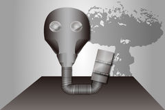 Gas mask and mushroom cloud. A gas mask and mushroom cloud on grey background stock illustration