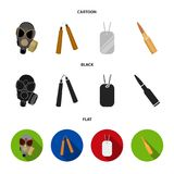 Gas mask, nunchak, ammunition, soldier token. Weapons set collection icons in cartoon,black,flat style vector symbol. Stock illustration royalty free illustration