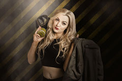 Gas mask pinup girl in nuclear danger zone Royalty Free Stock Photography