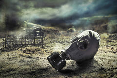 Gas mask in quemical war Royalty Free Stock Image
