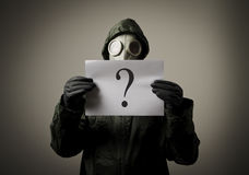 Gas mask and question Royalty Free Stock Photos