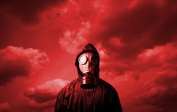 Gas mask and red sky Royalty Free Stock Photo