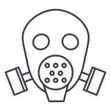 Gas mask respirator vector line icon, sign, illustration on background, editable strokes stock illustration