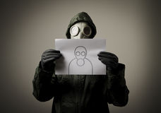 Gas mask and self-portrait. Royalty Free Stock Photo