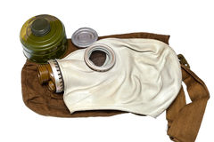 Gas mask. A set of chemical protection of civil defense of the Soviet era USSR isolated on white background royalty free stock photo