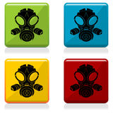 Gas mask sign buttons Stock Images