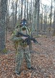 Gas Mask Soldier. A special forces soldier wears a gas mask in a fallout situation Royalty Free Stock Image